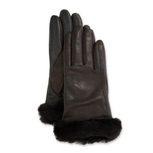 UGG Genuine Leather Shorty Fur Shearling Gloves S